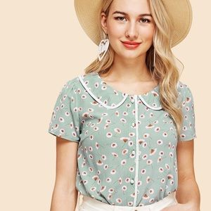 Floral Print Peter Pan Collar Shirt